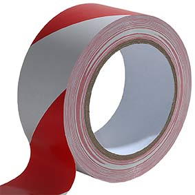HAZARD WARNING TAPE NON-ASDHESIVE RED & WHITE 500M 093330030