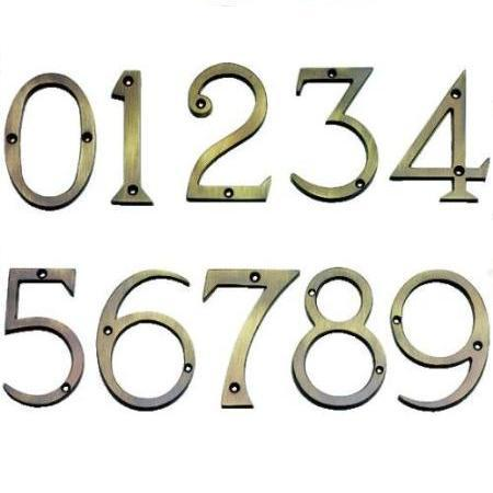 BRASS NUMERALS 3in (6) SIX