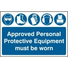 SIGN APPROVED PERSONAL PROTECTIVE EQUIPMENT MUST...600x400MM 4020